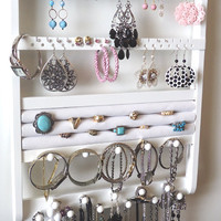 Jewelry Holder, 20 Ring Holder, Necklace Bracelet Earring Organizer, Cabinet Grade White Paint, Wood, 54-108 Pairs, 16 Pegs, Jewelry Display