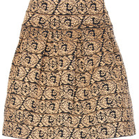ROMWE | ROMWE High Elastic Rococo Embroidery Apricot Skirt, The Latest Street Fashion