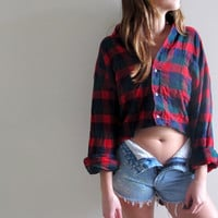Hi Low Plaid Shirt Flannel Womens High Lo Cropped Crop Top Red Tunic Button Up Down Grunge Size Small Medium Western Midriff