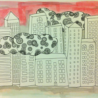 "Watercolor Painting & Ink Drawing - Clouds and City Buildings - Trippy and Colorful - 140 lb paper - 15"" x 11"""