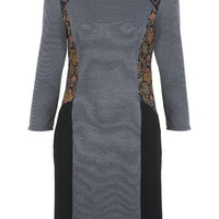 Brocade Mix Panel Dress - Day Dresses - Dress Shop