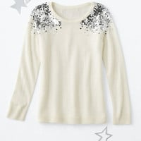Stella Sequin-Shoulder Sweater - Girls