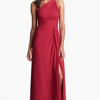 Aidan Mattox One Shoulder Silk Gown | Nordstrom