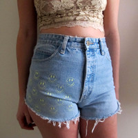 Happy Face Jean Shorts High Waist Waisted Black Denim Womens Painted Size 27 Blue Summer