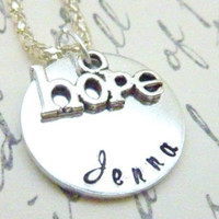 Hope Necklace Personalized Hope necklace Infertility Miscarraige Inspirational Gift Hand stamped custom necklace