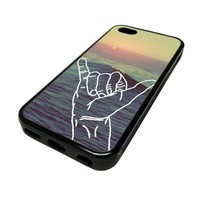 Apple iPhone 5C 5 C Case Cover Aloha Hand Gesture Sunset Ocean DESIGN BLACK RUBBER SILICONE Teen Gift Vintage Hipster Fashion Design Art Print Cell Phone Accessories