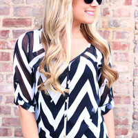 Trendsetter Chevron Blouse - Black