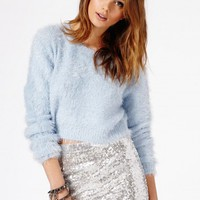 Missguided - Flafica Eyelash Knit Long Sleeve Cropped Jumper In Blue