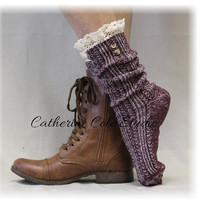 NORDIC LACE in Aubergine, lace socks for cowboy and combat boots, slouch socks, womens hosiery, ladies socks Catherine Cole Studio SLX1B