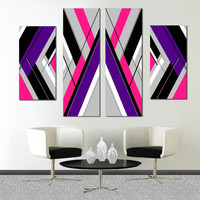 "Made to order- 57x36"" Original abstract painting on canvas. Large painting. Girly painting with pink, purple, gray. Free shipping canvas art"