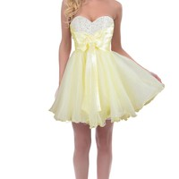 Faironly Girl's Yellow Short Prom Formal Dress