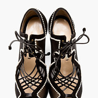 BLACK MESH & PEARL LACE-UP HEELS