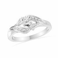 1/7 CT. T.W. Diamond Bypass Promise Ring in Sterling Silver