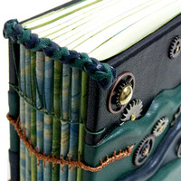 Clockwork Tides: Handbound Leather Steampunk Journal OOAK Artist Book Coptic Stitch Journal Book of Shadows Black Leather