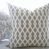 Taupe geometric lattice pillow cover, Robert Allen Graphic Fret (Taupe) in Flax, Fabric BOTH SIDES,16 x16, 18 x 18, 20 x 20, 24 x 24