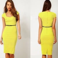 Women's Cap Sleeve Formal Knee Length Dress OL Style Fitted Square Neck Zip Back