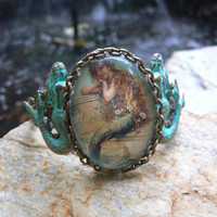 mermaid verdigris cuff bracelet mermaid jewelry mermaid cameo chain siren fantasy resort wear cruise wear beach wear hipster gypsy boho