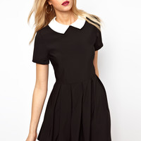 Lavish Alice Structured Skater Dress With Contrast Collar