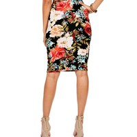 Rose Floral Pencil Skirt