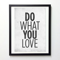 Motivational Quotes poster - Do What You Love - Retro-style typography poster