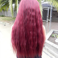 BLACK FRIDAY SALE / Auburn Burgundy Red / Long Wavy Layered Wig