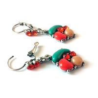 Aqua Dangle Earrings, Green, Orange, Brown, Beaded, Rhinestones, Long, Beads