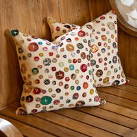 Set of 2 Cotton Gudari Buttons Cushion Covers - Pillows & Covers - Accessories
