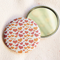 Peach hearts round pocket mirror