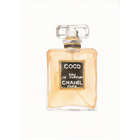 Chanel Coco Eau de Parfum Fragrance - Watercolor Perfume bottle illustration