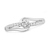 Diamond Accent Heart Split Shank Promise Ring in Sterling Silver