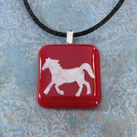 Hand Painted Horse Necklace on Black Satin Cord, Cowgirl Jewelry, Horse Jewelry - Sugar - 4320 -3
