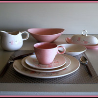 53 PINK ATOMIC AGE Dinnerware - 50s Vintage Dish Set - Dinner and Salad Plate, Cup & Saucer, Serving Bowl, Butter Dish, Gravy Boat, Platter