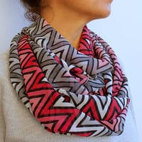 FREE SHIPPING Chevron Infinity Scarf Zigzag Pink Grey Geometric Spring Fashion Women Loop Circle Scarf Chiffon Scarf
