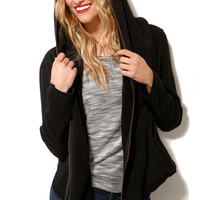 Oversized Zip Hoodie in Black