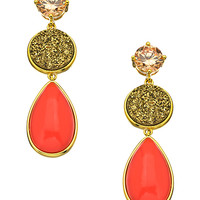 Andara Druzy And Coral Pear Drop Earrings - Max & Chloe