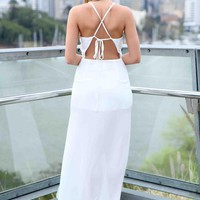 White High Neckline Maxi Dress with Open Tie Back Detail