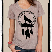 Wolf Dreamcatcher NAVAJO boho slouchy t shirt Alternative Apparel KIMBER tee tshirt vintage style screenprint ladies scoop top
