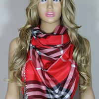 Tartan Plaid Scarf Red Christmas Scarf Lightweight Unisex Scarf Shawl For Her For Him Christmas Gift ESCHERPE
