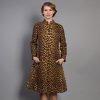 60s LEOPARD Print DRESS / Mod Larry Aldrich Wool Trapeze Dress, s-m
