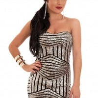 Silver Sequin Strapless Dress with Black Line Contrast