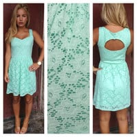 Mint Lace Open Back Dress