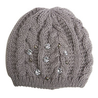 Cable-Knit Embellished Beanie | Arden B.