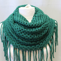 FABULOUS FRINGE Holiday Green scarf fringe scarves knit scarf women fall infinity scarf tube scarves womens scarf Catherine Cole Studio SC20