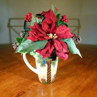 Christmas Floral Arrangment in Holiday Palm Mug (C2) OOAK