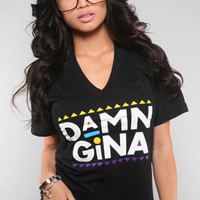 Adapt - Damn Gina Women's V-Neck Shirt, Black