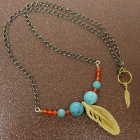 Long Carved Bone Feather Brass Necklace Orange Carnelian and Amazonite