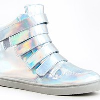 Qupid TRIVIA-74 Holographic Hologram Velcro High Top Sneaker