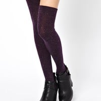 Gipsy Over The Knee Sock in speckled Mulberry