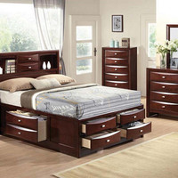 Manville Queen Size Bookcase Storage Bed