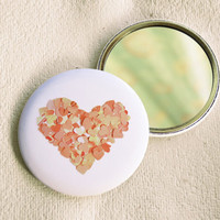 Peach heart round pocket mirror